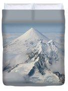 Aerial View Of Shishaldin Volcano Duvet Cover by Richard Roscoe