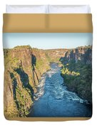 Aerial View Of Sunlit Rapids In Canyon Duvet Cover