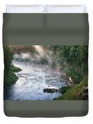 Aerial View Of The Dawn Over The River In The Fog Duvet Cover