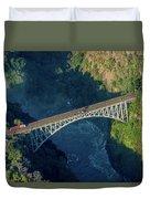 Aerial View Of Victoria Falls Suspension Bridge Duvet Cover