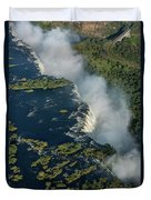 Aerial View Of Victoria Falls With Bridge Duvet Cover