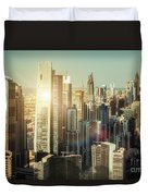 Aerial View Over Dubai's Towers At Sunset.  Duvet Cover