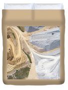 Aerial View Over The Building Materials Processing Factory. Duvet Cover