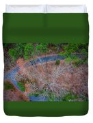 Aerial View Over Wooded Forest And Road Duvet Cover