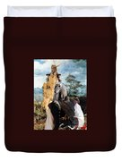 Afghan Hound-falconer And Windmill Canvas Fine Art Print Duvet Cover