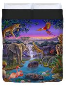 African Animals At The Water Hole Duvet Cover by Anne Wertheim