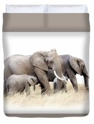 African Elephant Group Isolated Duvet Cover