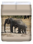 African Elephants Mother And Baby Duvet Cover