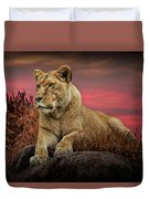 African Female Lion In The Grass At Sunset Duvet Cover