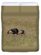 African Grey Crowned  Crane With Chick Duvet Cover