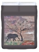 African Landscape Baby Elephant And Banya Tree At Watering Hole With Mountain And Sunset Grasses Shr Duvet Cover