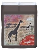 African Landscape Giraffe And Banya Tree At Watering Hole With Mountain And Sunset Grasses Shrubs Sa Duvet Cover