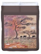 African Landscape Three Elephants And Banya Tree At Watering Hole With Mountain And Sunset Grasses S Duvet Cover