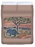 African Landscape With Elephant And Banya Tree At Watering Hole With Mountain And Sunset Grasses Shr Duvet Cover