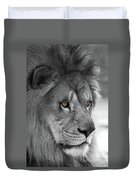 African Lion #8 Black And White  T O C Duvet Cover