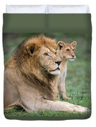 African Lion Panthera Leo With Its Cub Duvet Cover