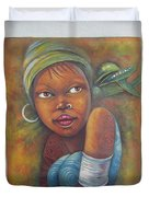 African Woman Portrait- African Paintings Duvet Cover