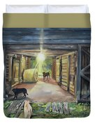After Hours In Pa's Barn - Barn Lights - Labs Duvet Cover
