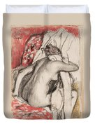 After The Bath Seated Woman Drying Herself Duvet Cover