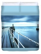 After The Shower Over Whitby Pier Duvet Cover
