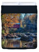 Afternoon Autumn Sun On Vermont Covered Bridge Duvet Cover