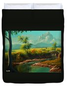 Afternoon By The River With Peaceful Landscape L A S Duvet Cover