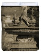 Aged And Worn Swan Statues On Rustic Cast Fountain Duvet Cover