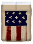Aged Rustic American Flag Duvet Cover