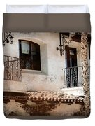 Aged Stucco Building Balcony With Terracotta Roof Duvet Cover