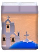 Aghioi Theodoroi Church At Firostefani, Santorini Duvet Cover