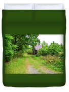 Aging Barn In Woods Duvet Cover