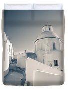 Agios Minas Santorini Bw Duvet Cover