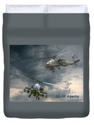 Ah-64 Apache Attack Helicopter In Flight Duvet Cover by Randy Steele