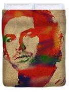 Aidan Turner As Poldark Watercolor Portrait Duvet Cover