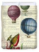 Hot Air Balloons Above Flower Field Duvet Cover