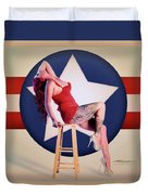 Air Force Pinup With Calypso Jean Duvet Cover