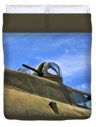 Aircraft Top Machine Gun Duvet Cover