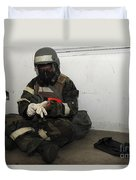 Airman Dons His Chemical Warfare Duvet Cover by Stocktrek Images
