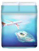Airplane Flying Over Maldives Islands On Indian Ocean. Travel Duvet Cover