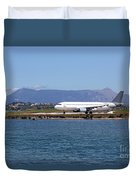 airplane on airport Corfu island Greece Duvet Cover