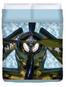 Airplane Propeller And Engine Navy Duvet Cover