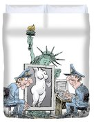 Airport Security And Liberty Duvet Cover