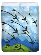 Airy Eight Of Wands Illustrated Duvet Cover