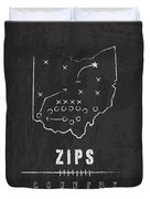 Akron Zips / Ncaa College Football Art / Ohio Duvet Cover by Damon Gray