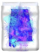Alabama Map Watercolor 2 Duvet Cover
