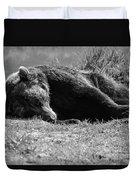 Alaska Grizzly - Do Not Disturb Grayscale Duvet Cover