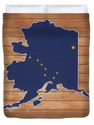 Alaska Map And Flag On Wood Duvet Cover