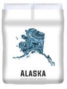Alaska Map Art Abstract In Blue Duvet Cover