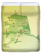 Alaska Map Square Cities Straight Pin Vintage Duvet Cover