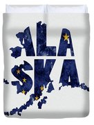 Alaska Typography Map Flag Duvet Cover